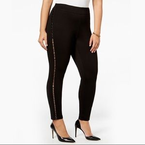 Black Ponte High Waisted Pants Faux Leather Laced
